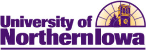 University of Northern Iowa Logo, Purple and Gold with Campanile in a crescent window pane.