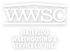 "Waterloo Warehousing and Service Company Logo ""WWSC under a roof"""