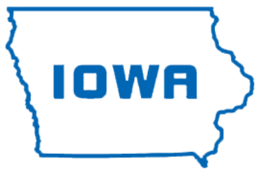 Shape of the state of Iowa with the word Iowa in the middle.