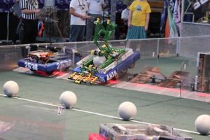 Photo of the robots during a match.
