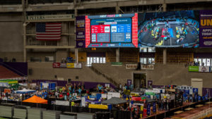 Photo of the pit area and the video score board in the UNI Dome, 2018.