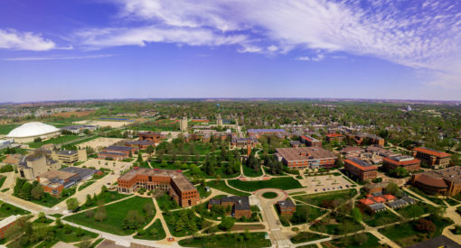 Drone images of campus during spring.