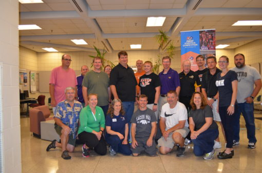 group photo from the 2016 FRC Coaches Workshop, led by Kenton Swartley and hosted by the University of Northern Iowa.