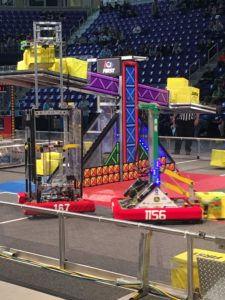 Robots on the field in the middle of a match.