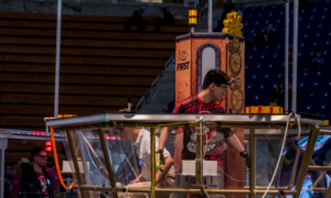 A human player gathering gears in the 2017 game, STEAMWORKS.